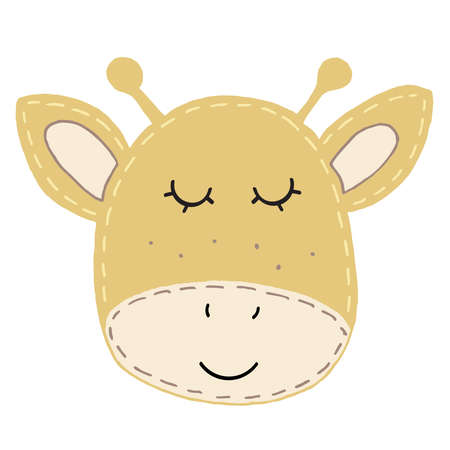 cute kawaii brown giraffe head with funny ears and horns, kids toy, decorative stitching seam vector element 向量圖像