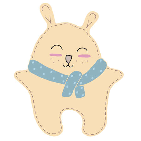 cute kawaii beige bear in a scarf with funny ears and ruddy cheeks, kids toy, vector element with decorative seam stitching 向量圖像