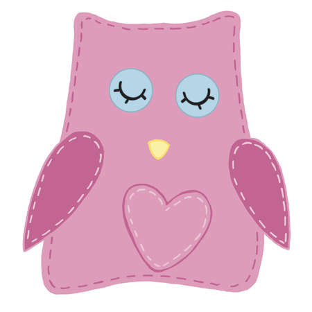 cute kawaii pink owl with heart beak, kids toy, vector element with decorative stitching seam 向量圖像