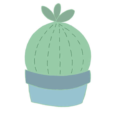 cute green cactus in a blue pot, decorative element, kids toy, vector element with decorative stitching seam 向量圖像