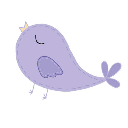 cute kawaii lilac bird with a tail sings a song, decorative element, children toy, vector element with decorative stitching seam