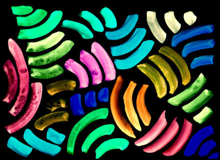 freehand abstract background with living materials, pattern, watercolor colored stripes of the arc on a black background