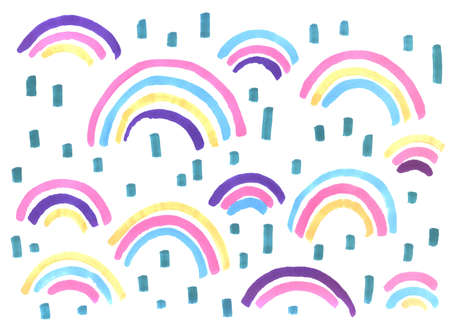 abstract bright rainbows with pink, blue, yellow and purple markers on a white background, freehand abstract background with live materials
