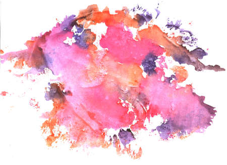 watercolor stains and stains, pink and orange blots on a white background, abstract background texture handwritten with living materials