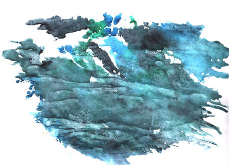 watercolor stains and stains, blue blots on a white background, abstract background texture by hand with live materials