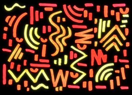 abstract geometric shapes with red, yellow and orange markers on a black background, freehand abstract background with live materials, neon, glows 版權商用圖片