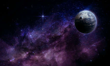 abstract space 3d illustration, 3d image, beautiful planet in a bright nebula of stars in space, background