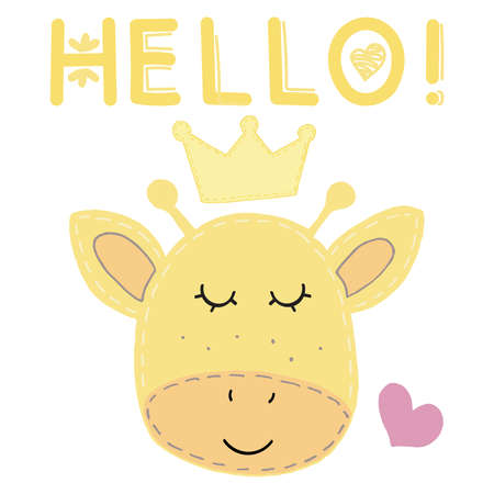 cute kawaii yellow giraffe face in a crown and with a heart and the inscription hello with closed eyes, children toy, vector illustration with decorative stitching with a seam on a white background