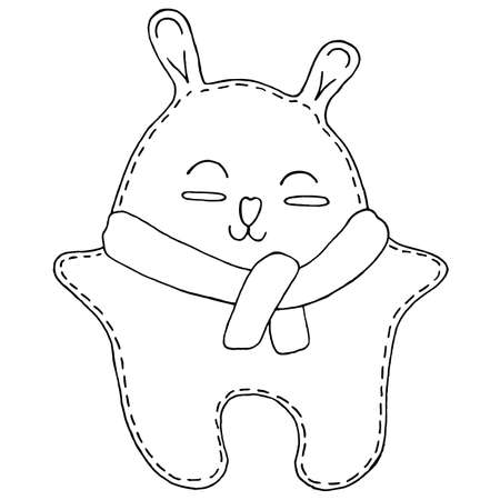 cute kawaii bear in a scarf, children toy, decorative element, vector illustration with decorative seam stitching, coloring book for children 向量圖像