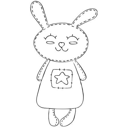 cute kawaii hare in a dress, children toy, decorative element, vector illustration with decorative stitching seam, coloring book for children