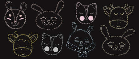 cute colored outlines of kawaii animal faces - mouse, cat, hare, rabbit, giraffe, bear, fox with closed eyes, children toy, set of vector elements with decorative stitching on a dark background