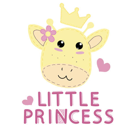 cute kawaii yellow muzzle of a giraffe in a crown with a flower and a heart and the inscription little princess with round eyes, children toy, vector illustration with decorative stitching on a white background 向量圖像