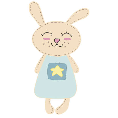 cute kawaii beige bunny with long ears and ruddy cheeks in a blue dress with a star, kids toy, vector element with decorative stitching seam
