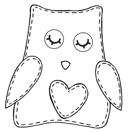 cute owl with closed eyes and a heart on its belly, children toy, decorative element, vector illustration with decorative stitching, a coloring book for children