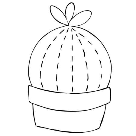 cute cactus in a pot, kids toy, decorative element, vector illustration with decorative stitching seam, coloring book for kids