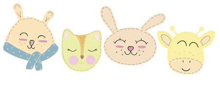cute kawaii animal faces - bear, fox, hare, giraffe with closed eyes, children toy, set of vector elements with decorative stitching