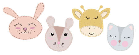 cute kawaii animal faces - mouse, cat, hare, rabbit, giraffe with closed eyes, children toy, set of vector elements with decorative stitching