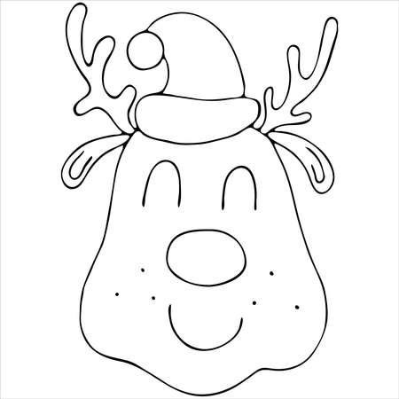 cute christmas deer head wearing santa claus hat, cute winter doodle coloring book, doodle style vector element Vektorgrafik