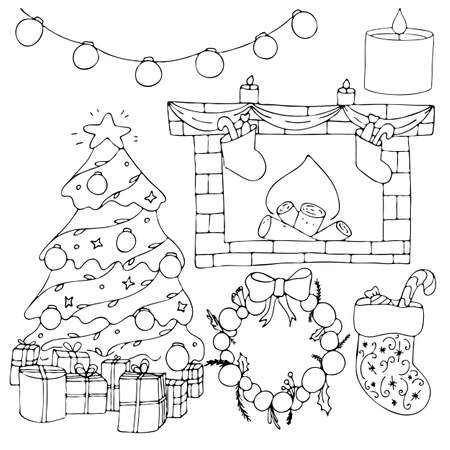 set for warm and cozy family celebration of new year and christmas at home, cute winter doodles, coloring book, vector set of elements in doodle style