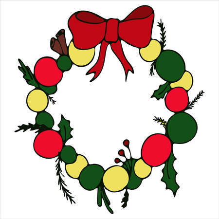 christmas wreath on the door made of balls, fir branches and bow with a green outline, cute winter doodles, vector set of elements in doodle style
