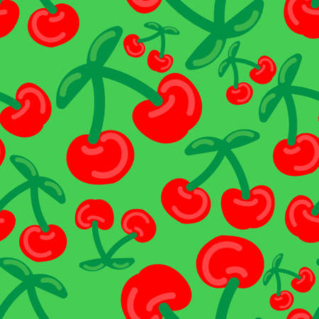 cherry berries on a branch on a green background, bright summer vector seamless pattern, cute simple drawing for kids