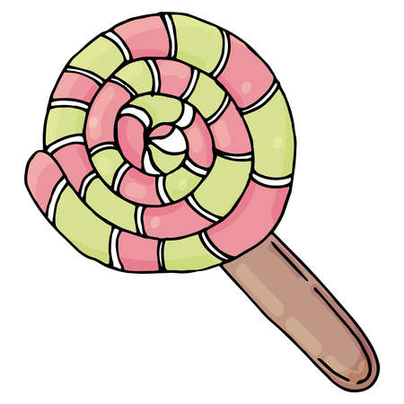 round shape sweet lollipop in red and green color, kawaii sweets, vector, cute drawing for kids 向量圖像