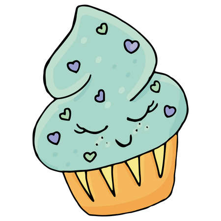 blue cupcake with sprinkles in the shape of hearts with closed eyes, kawaii sweets, vector, cute drawing for kids 向量圖像