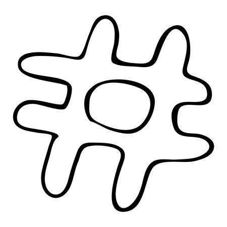 hashtag, vector element in doodle style, coloring book, isolated object