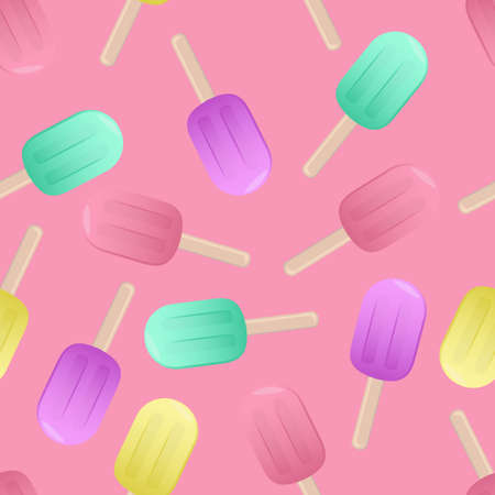 colored lollipops, vector seamless pattern on pink background, sweets