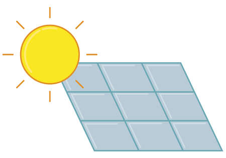 solar panels of natural electricity, vector icon in flat style