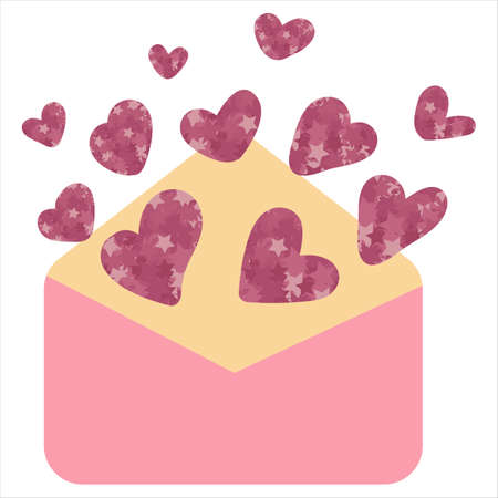 love letter with glittering hearts for valentines day, vector element