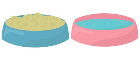 blue and pink bowl with water and food for rodents or other pets, vector element in flat style
