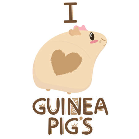 cute light beige guinea pig with a heart on the bottom and pink ears, i love guinea pigs, cute pet rodent, vector illustration in flat style