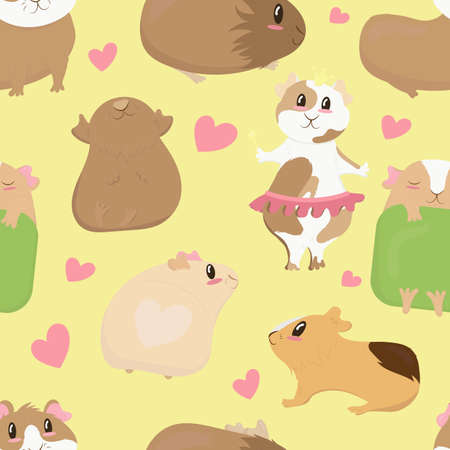 big set, cute funny guinea pigs of different colors stand, lie, sleep, cute home rodent, vector seamless pattern on yellow background