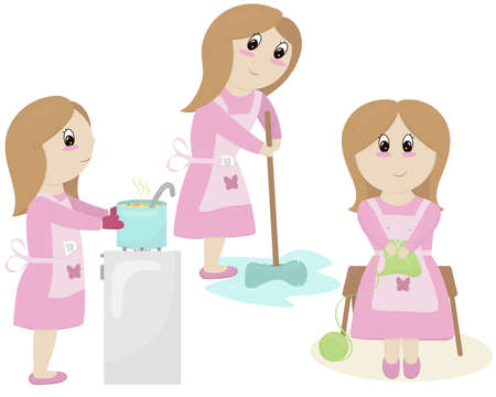 mom in pink dress and apron prepares, washes the floor, knits - does housework, set of vector elements in flat style