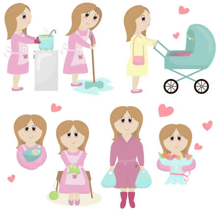 mom in a pink dress with a bouquet of flowers, with a newborn baby in her arms, with a stroller, with shopping, household chores - cooking, cleaning, knitting, a set of vector elements in a flat style