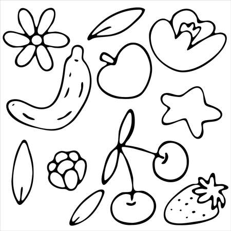 summer fruit set - banana, strawberry, apple, cherry, vector doodle element, coloring black and white