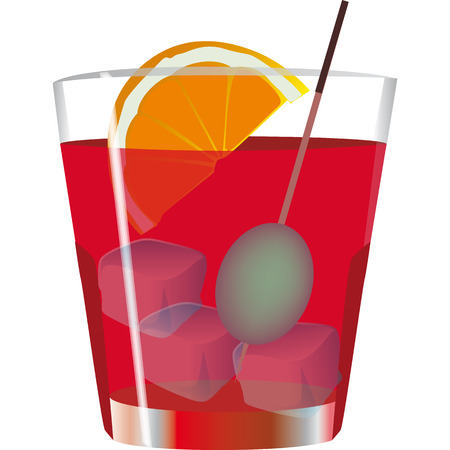 full glass of spritz, an aperitif of the Italian Veneto Illustration