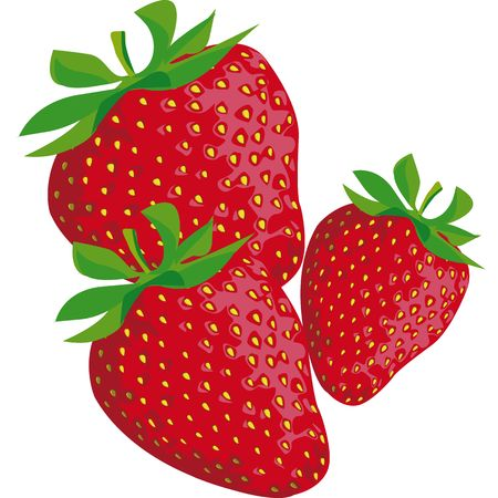 drawing of a strawberry with green leaves Stock Photo