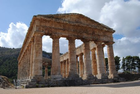 archaeological site of Segesta in Sicily during the summer photo