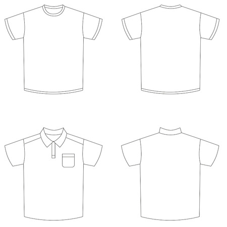 design of polo shirts and t-shirt front and back Illustration