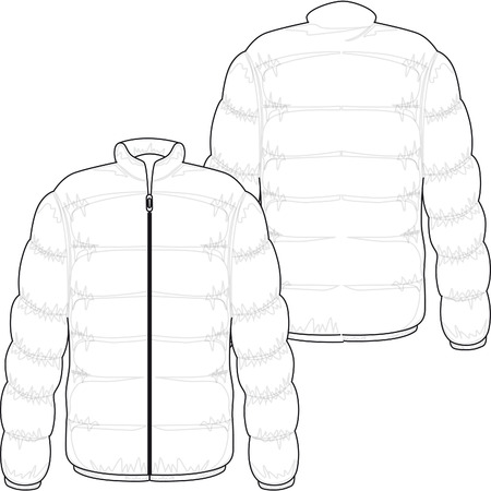 warm clothing: winter jacket filled with real goose down Illustration