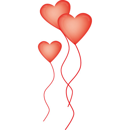 balloon love: red and big heart-shaped balloons for Valentines Day