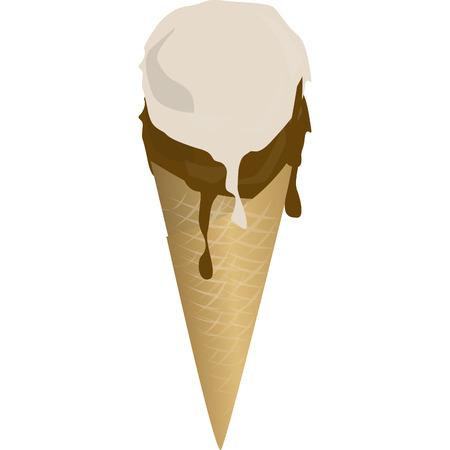 cornet de crème glacée à la saveur de chocolat qui est fuites