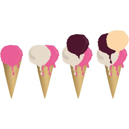 cornet de crème glacée dans la saveur de chocolat qui est en fuite