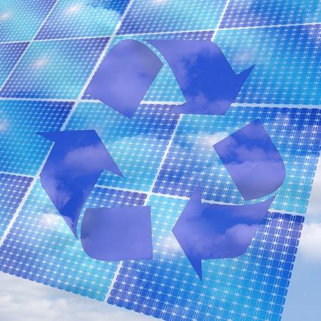 alternative energy solar panels to protect the environment Stock Photo