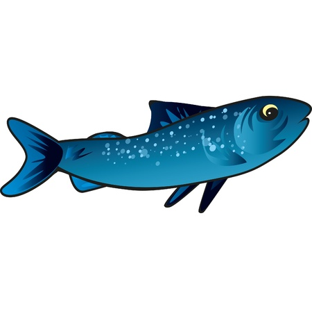 Small blue fish that swims in the sea good to eat Illustration