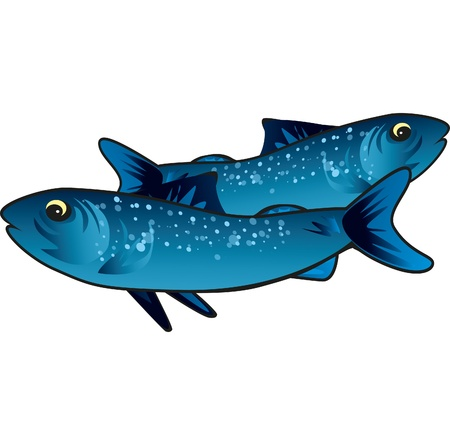 Small blue fish that swims in the sea good to eat Ilustrace