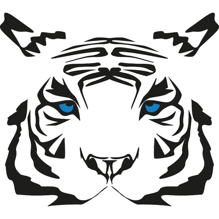 very rare white tiger with blue eyes Stock Vector - 10031171