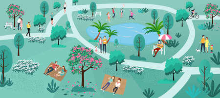 Illustration of people, walking, running, lying and playing in the park, Nature landscape, People in nature.